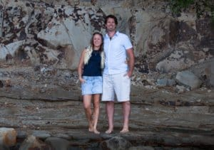 Engagement photo at Castor Bay beach - Auckland