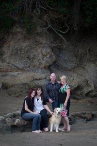 Family portrait at Castor Bay beach